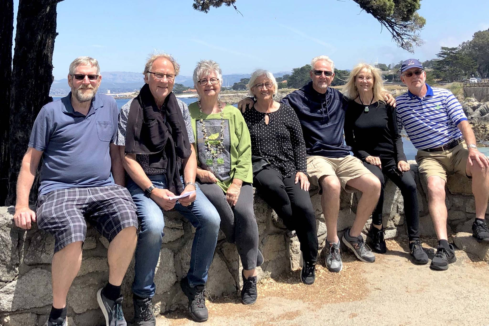 Submitted photo                                A group of Canadian and Americans, including Dave Tryon, left, who was found through social media, are back together for a reunion in California after backpacking Europe in 1969.