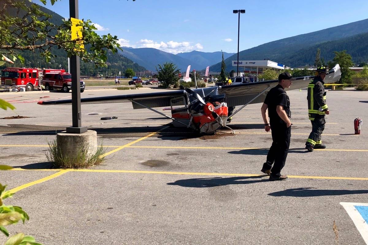 The pilot of a plane that crashed on Monday morning in the Wholesale Club parking lot in Nelson was taken to hospital with minor injuries. Photo: Bill Metcalfe