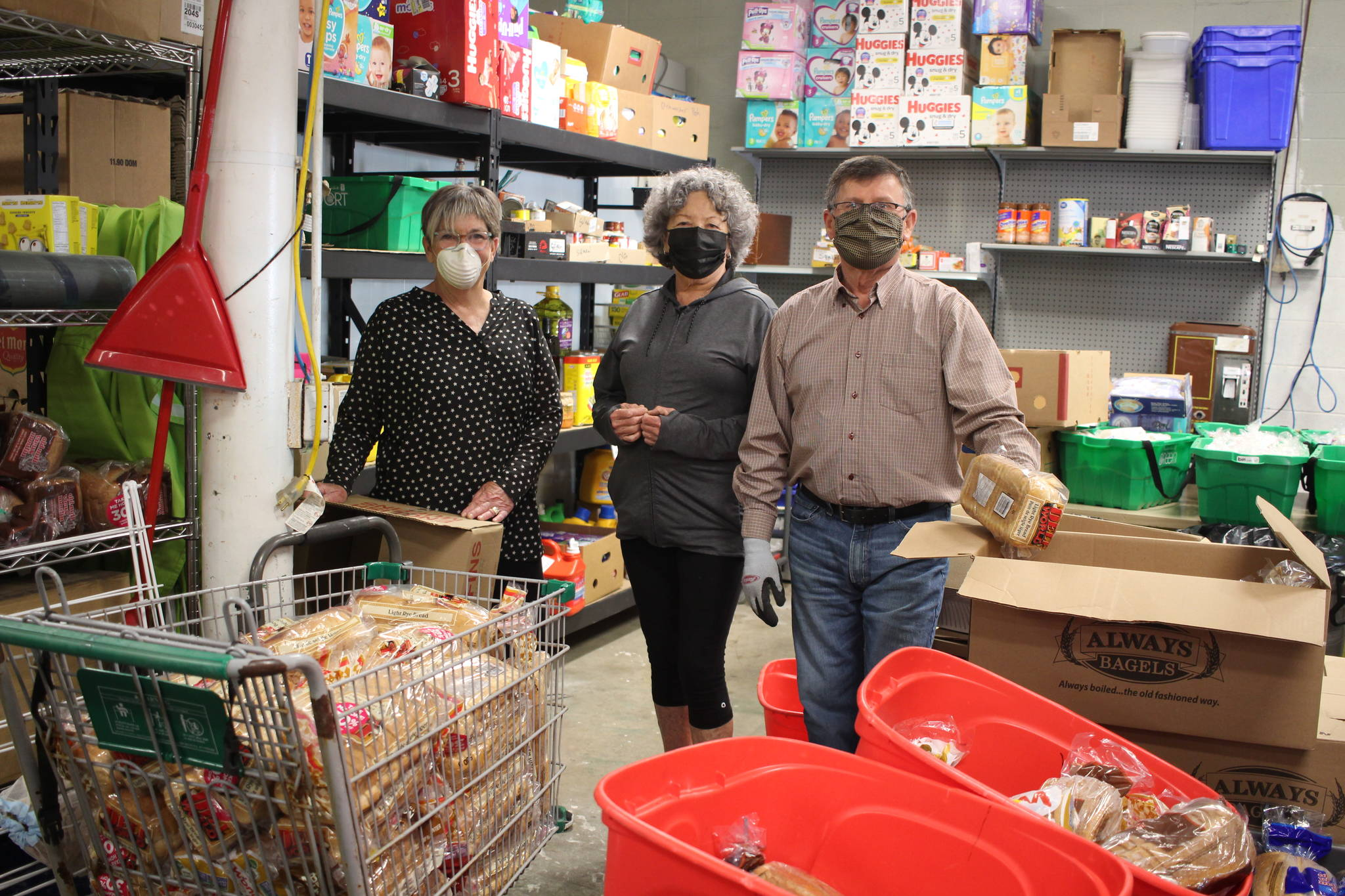 From left are Campbell River Food Bank volunteers Darlane Davis, Pat Carville and Donnie Earles. Photo by Marc Kitteringham, Campbell River Mirror.